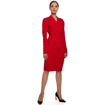 Kleidung Damen Kurze Kleider Moe M547 Kostüm mit geraffter Front - rot
