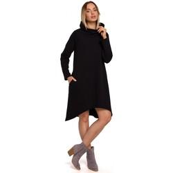 Kleidung Damen Kurze Kleider Moe M551 Strickkleid mit asymmetrischem Saum - schwarz