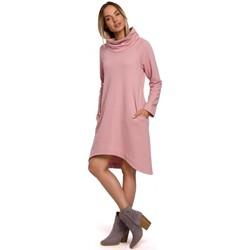 Kleidung Damen Kurze Kleider Moe M551 Strickkleid mit asymmetrischem Saum - Puder