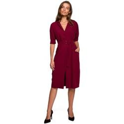 Kleidung Damen Kurze Kleider Style S230 Midi-Hemdkleid mit aufgesetzten Taschen - kastanienbraun