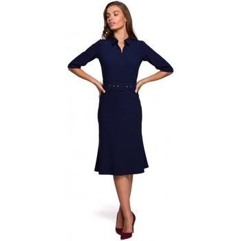 Kleidung Damen Kurze Kleider Style S231 Kragendress mit Schnallengürtel - navy blau