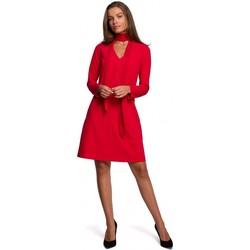 Kleidung Damen Kurze Kleider Style S233 Etuikleid mit Chiffonschal - rot