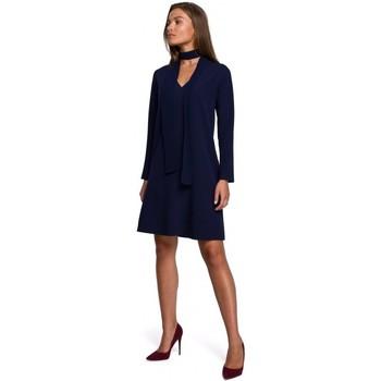 Kleidung Damen Kurze Kleider Style S233 Etuikleid mit Chiffonschal - navyblau