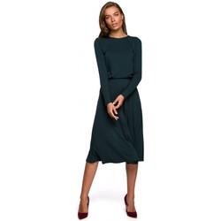 Kleidung Damen Maxikleider Style S234 Kleid mit Schlaghose - dunkelgrün