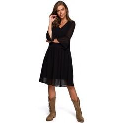 Kleidung Damen Kurze Kleider Style S236 Einfarbiges Chiffonkleid - marineblau
