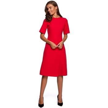 Kleidung Damen Kurze Kleider Style S240 Kleid mit Wickeloptik - marineblau