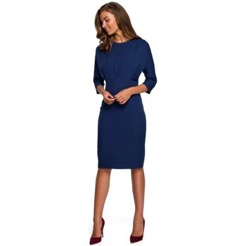 Kleidung Damen Kurze Kleider Style S242 Kleid mit Fledermausärmeln - navyblau
