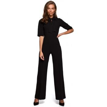 Kleidung Damen Overalls / Latzhosen Style S243 Eleganter Jumpsuit mit Krawattenausschnitt - schwarz