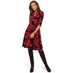 Kleidung Damen Kurze Kleider Style S247 Kleid in Wickeloptik mit Druck - Modell 1