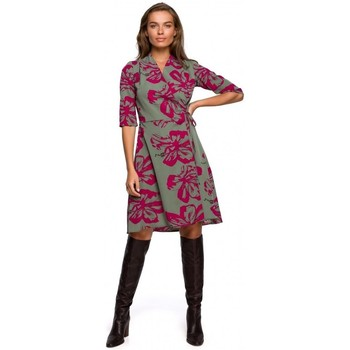 Kleidung Damen Kurze Kleider Style S247 Kleid in Wickeloptik mit Druck - Modell 2