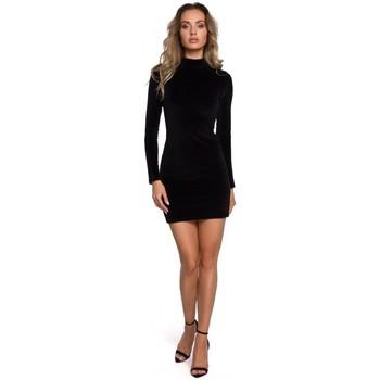 Kleidung Damen Kurze Kleider Moe M558 Minikleid mit Rollkragen aus Samt - schwarz
