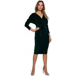 Kleidung Damen Kurze Kleider Moe M561 Samt-Wickel-Top-Kleid - grün