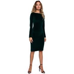 Kleidung Damen Kurze Kleider Moe M565 Bleistiftkleid aus Samt - grün