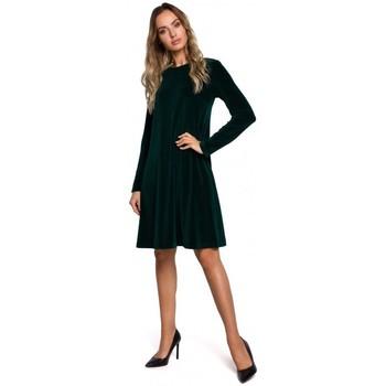 Kleidung Damen Kurze Kleider Moe M566 Relaxed Fit Kleid aus Samt - navyblau