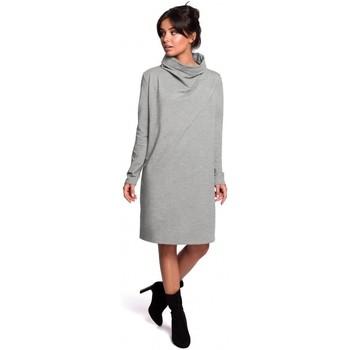 Kleidung Damen Kurze Kleider Be B132 Kleid mit hohem Kragen - grau
