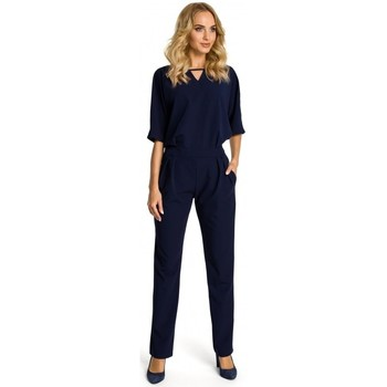 Kleidung Damen Overalls / Latzhosen Moe M334 Jumpsuit mit Kimono-Ärmeln - navyblau