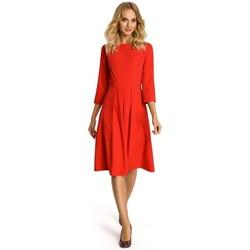 Kleidung Damen Kurze Kleider Moe M335 Kleid mit Kellerfalte im Vorderteil - rot