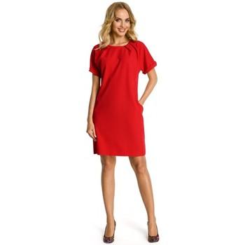 Kleidung Damen Kleider Moe M337 Etuikleid mit Falten - rot
