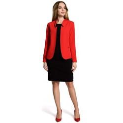 Kleidung Damen Anzugjacken Moe M358 Klassischer Blazer mit Stehkragen - rot