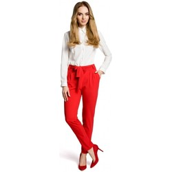 Kleidung Damen Hosen Moe M363 Chino-Hose mit Gürtel - rot