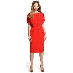Kleidung Damen Kurze Kleider Moe M364 Etuikleid mit Kimonoärmeln - rot