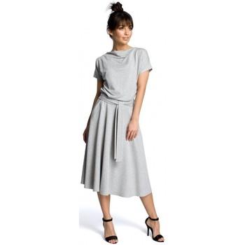 Kleidung Damen Kurze Kleider Be B067 Ausgestelltes Kleid - grau