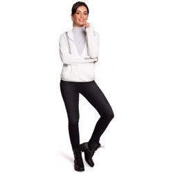 Kleidung Damen Sweatshirts Be B127 Wickel-Pullover mit Kapuze - ecru