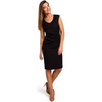 Kleidung Damen Kurze Kleider Style S174 Ärmelloses Kleid mit geraffter Front - schwarz