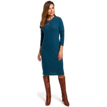 Kleidung Damen Kleider Style S178 Langärmeliges Pulloverkleid - ozeanblau