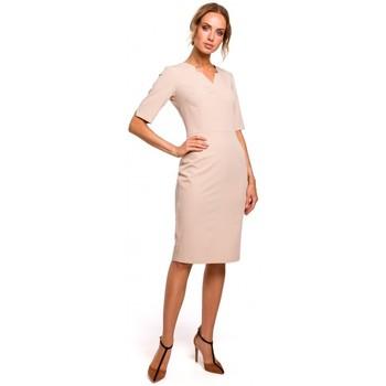 Kleidung Damen Kleider Moe M455 Kleid mit V-Ausschnitt - beige