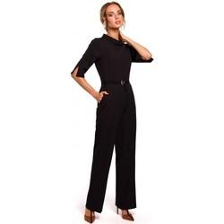 Kleidung Damen Overalls / Latzhosen Moe M463 Jumpsuij mit Stehkragen - schwarz