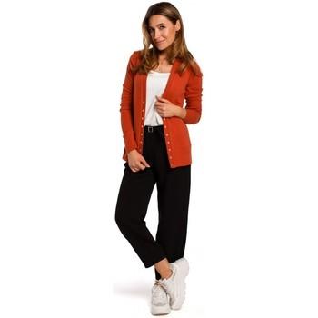Kleidung Damen Pullover Style S198 Strickjacke mit Druckknöpfen - ingwer
