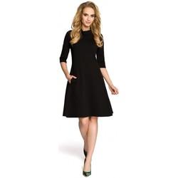 Kleidung Damen Kurze Kleider Moe M279 Kleid mit Rollkragen - schwarz