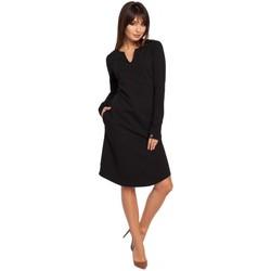 Kleidung Damen Kleider Be B017 Etuikleid mit Kerbschnitt - schwarz