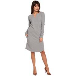 Kleidung Damen Kleider Be B017 Etuikleid mit Kerbschnitt - grau