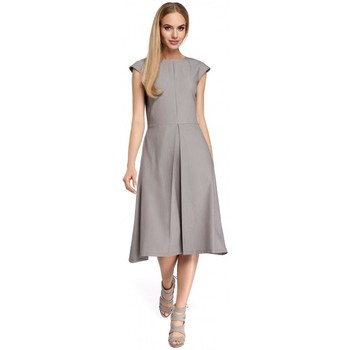 Kleidung Damen Kurze Kleider Moe M296 Kleid mit umgekehrten Falten - marineblau