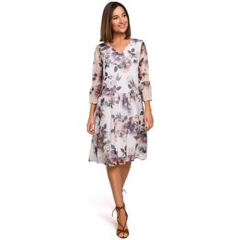 Kleidung Damen Kleider Style S214 Chiffonkleid mit tiefer Taille - Modell 1