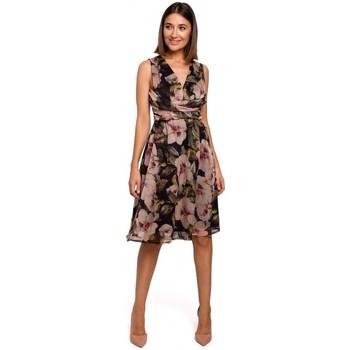Kleidung Damen Kleider Style S225 Chiffonkleid mit tiefem Ausschnitt - Modell 4