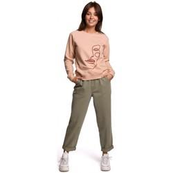 Kleidung Damen Sweatshirts Be B167 Pullover mit Druck auf der Vorderseite - beige