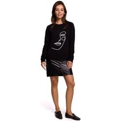 Kleidung Damen Sweatshirts Be B167 Pullover mit Druck auf der Vorderseite - schwarz