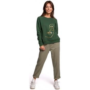 Kleidung Damen Sweatshirts Be B167 Pullover mit Druck auf der Vorderseite - Rasengrün