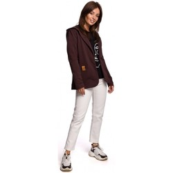 Kleidung Damen Jacken / Blazers Be B180 Blazer mit Kapuze aus Baumwollstrick - braun