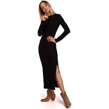 Kleidung Damen Maxikleider Moe M544 Maxikleid mit Beinausschnitt - schwarz