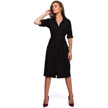 Kleidung Damen Maxikleider Style S230 Midi-Hemdkleid mit aufgesetzten Taschen - schwarz
