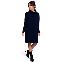 Kleidung Damen Kurze Kleider Be B132 Hochgeschlossenes Kleid - granatowy