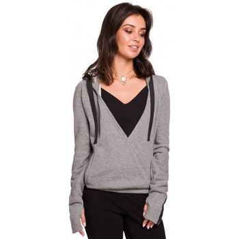 Kleidung Damen Sweatshirts Be B127 Wickel-Pullover mit Kapuze - grau