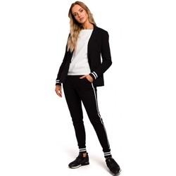 Kleidung Damen Anzugjacken Moe M459 Blazer mit gestreiften Rippenbündchen - schwarz