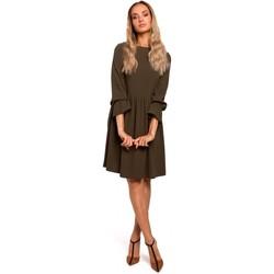 Kleidung Damen Kurze Kleider Moe M465 Etuikleid mit gerafften Ärmeln - khaki
