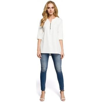 Kleidung Damen Tops / Blusen Moe M278 Tunika-Bluse mit Reißverschluss - rot