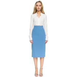 Kleidung Damen Röcke Style S065 Bleistift-Midirock - blau